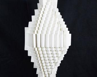 White Trapezoid Geometrical Shaped Folding Paper Lantern Shade - 10UQ3-WH