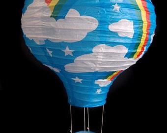 Turquoise Rainbow Hot Air Balloon Paper Lantern - 14HAB-TU