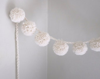 Wool Pom Pom Garland | Adjustable | Super Bulky | Large