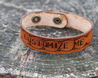 Custom Personalized Leather Bracelet, Customized Handmade Leather Women's, Men's, Kid's Jewelry