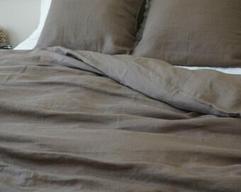 Cedar Linen Dark Brown Duvet Cover, Khaki,  handmade with 100% linen flax