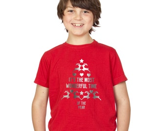 Kids Silver Christmas Tree T-Shirt / It's the most wonderful time of year childrens tee / girls / boys