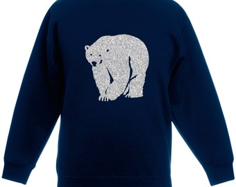 Children's Polar Bear Glitter Christmas Jumper / Sweatshirt