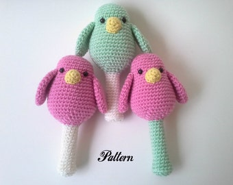 PATTERN Bird Baby Rattle, Crochet Rattle, Bird Rattle, PDF format