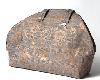 Brown and gold tweed half moon tote bag
