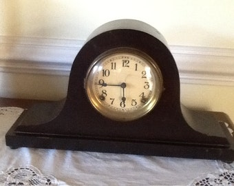 Antique mantle clock by Sessions, model no. 8338. Antique wood mantle clock by Sessions Company in dark mahogany. Sessions mantle clock.