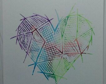 Multicoloured watercolour heart screenprint