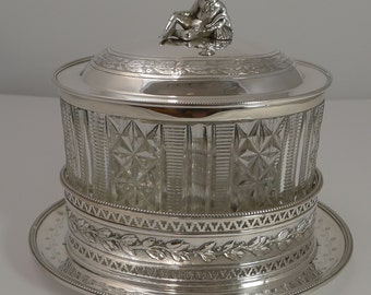 Outstanding Cut Crystal and Silver Plated Biscuit Box by Martin Hall c.1870