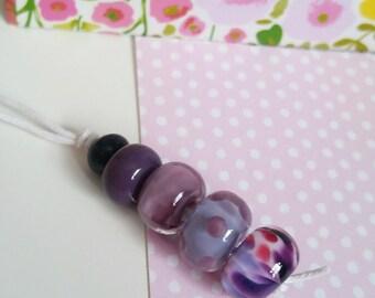 Lavender Lampwork Bead Set