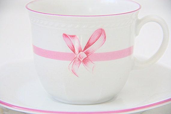Vintage Porcelain Schirnding Bavaria Demitasse/ Small Teacup and Saucer, Pink Bow Decor, Germany