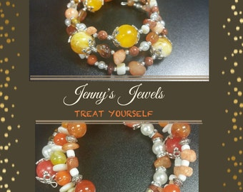 Orange Tangerine Natural Stone and Glass Bracelet