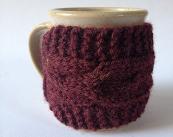 Cable Knit Mug Cozy, Knitted Coffee Cozy in 4 color options, Coffee Sleeve, Eco-friendly Reusable Coffee Sleeve