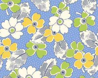 Feedsack Floral Print Yellow, White, Green, Blue - Reproduction 1930s - by the Half Yard