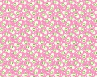 Feedsack Florals - Green White Flowers on Pink - Reproduction 1930s - by the Half Yard