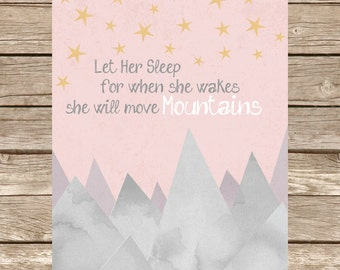 """Nursery Print """"She Will Move Mountains"""" Watercolor Typography Wall Art, Girl, Baby, Bedroom"""