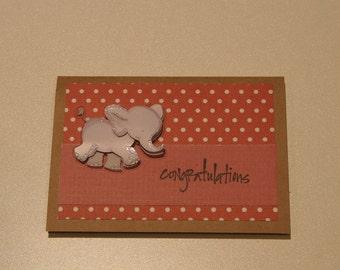 "Baby elephant ""congratulations"" card"