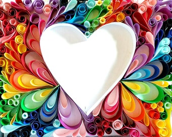 """Rainbow Heart Paper Quilling 12"""" x 9"""""""
