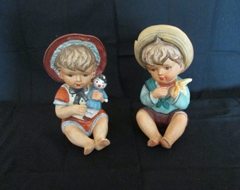 Vintage Lipper & Mann Creations Piano Babies Japan  Set of Two