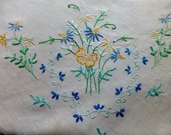 Vintage White Linen Tablecloth with Hand Embroidery 122x129cm