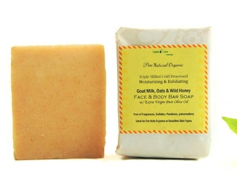 Organic Oatmeal & Honey Goat Milk Soap 100% Natural Fragrance Free Unscented.