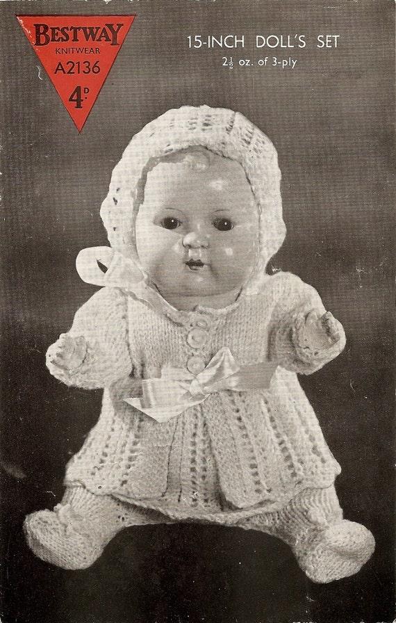 Knitting Pattern Dolls Matinee Coat Dress Bonnet And