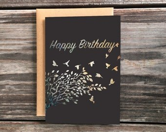 Happy Birthday Greeting Card, Tree Birds Art Cards