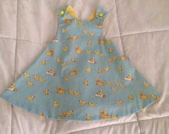 duck print cotton wrap dress