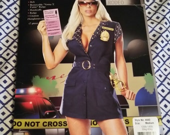 90s New Vintage Women's Fashion Police Costume / Size Medium / Police Costume / Costumes / Handcuffs / Badge / Policia / Interpol / Dress