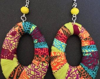 Neon Kente Hoop Earrings