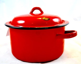 Vintage Red Enamel Pot