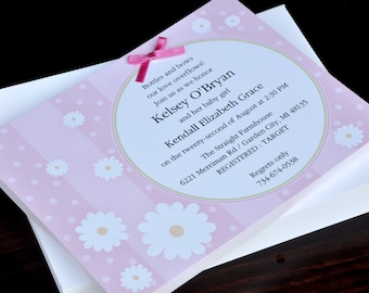 Flowers on Pink Party Invitation, New Baby Shower Invitation, Birth Announcement, Birthday Digital Invitation, IV826