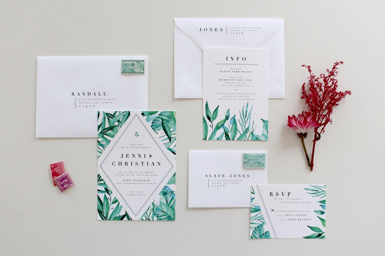 Tropical Wedding Invitations: Botanical Wedding Invitations Tropical Wedding Invitation