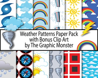 Weather Digital Paper, Weather Paper, Scrapbook Paper 12x12, Weather Scrapbook Paper, Weather Paper, Digital Instant Download, Weather
