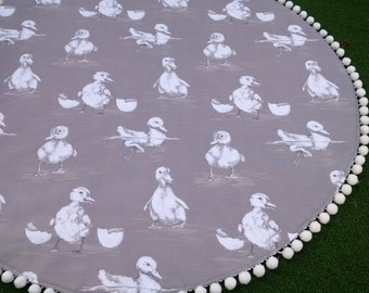 Baby PlayMat, Round Playmat, Tummy Time Mat, Out and About Mat, Nursery Decor, Baby Ducklings Play Mat