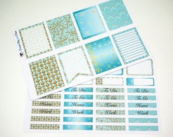 Mint and Gold  Planner Stickers! DBP003EC