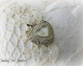 Vintage Sarah Coventry Supreme Heart Shaped Watch Pendant Rhinestone