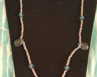 Handmade Teal & Gray Necklace and Bracelet