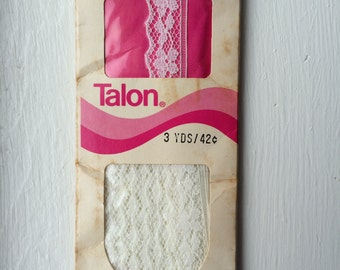 "Vintage 1972 New White Stretch Lace Seam Binding Tape 100% Nylon 5/8"" wide x 3 yards by Talon"