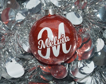 Glitter Christmas Ornament - Christmas Ornament - Red Ornament - Glitter Ornament - Round Ornament - Monogram Ornament - Name Ornament