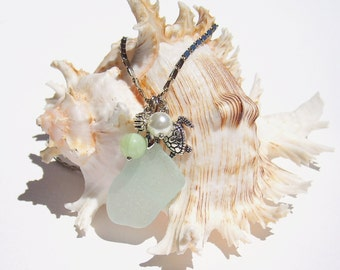 Sea glass necklace Sea glass jewelry Beach necklace Aqua sea glass pearl necklace Seaglass jewelry Beach jewelry Genuine sea glass necklace