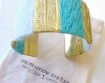 White and green woven cuff