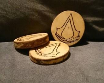 3x Assassins Creed Birch Coasters handmade woodburned