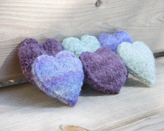 Small Stuffed Wool Hearts, Felted Wool Hearts, Wedding Favors, Hand Knit: Purples and Light Blue