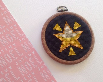 SALE : Shining Star Emoji Cross Stitch Hanging Decoration