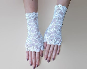 White Fingerless Gloves\Lace gloves\ Fingerless Lace Gloves\White gloves\ Bridal gloves White\Fingerless gloves