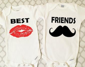 Twin Baby Onesie, Twin Baby Set, Funny Baby Twin Onesie Set