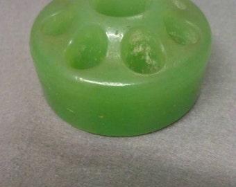 Jadite Green Glass Flower Frog