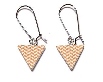 Geometric Triangle Earrings - Yellow & White, Triangle Earrings, Geometric Earrings, Wooden Earrings, Painted Earrings, Titanium Earrings.