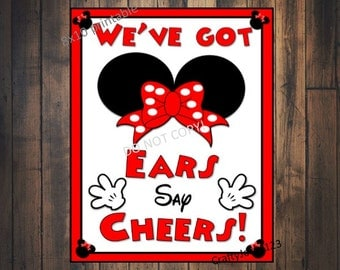Minnie Mouse party, Minnie Mouse Birthday, Minnie mouse put on your ears and say cheers, Minnie Mouse favors,INSTANT DOWNLOAD