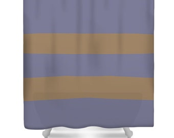 Lilac Coffee Stripe Shower Curtain,Lavender Bath Curtain,Brown Purple Shower Accessories,Lilac Home Interior,Stripe Shower Curtain